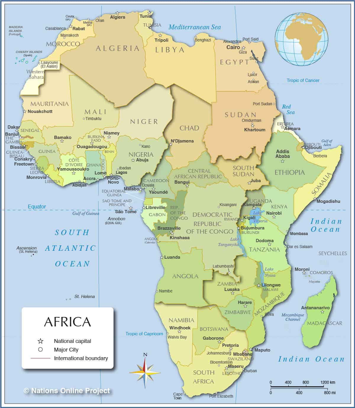 Map of countries in Africa