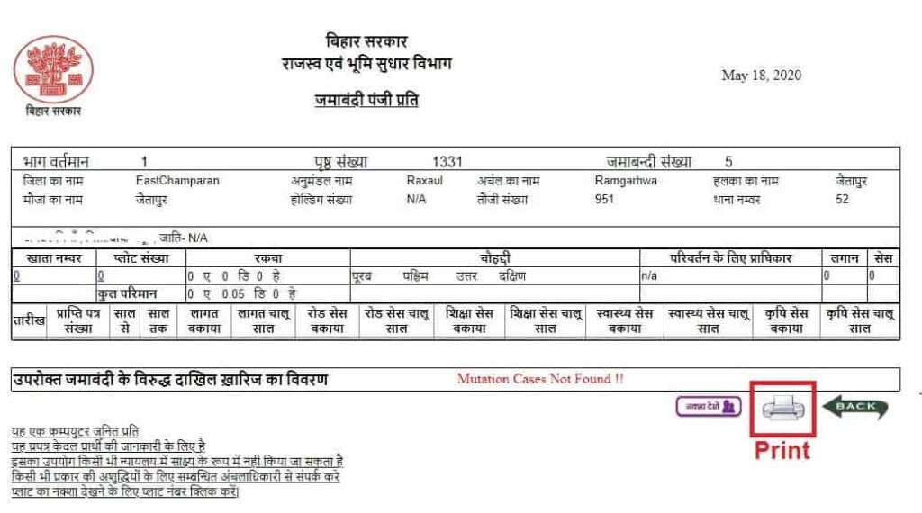 Bhulekh Bihar - Jamabandi Nakal Print