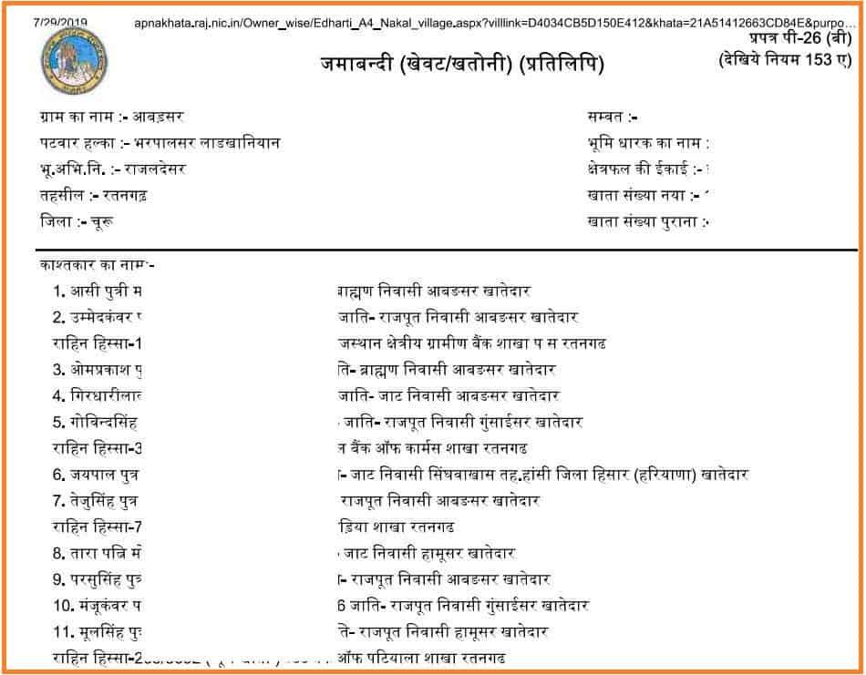 Apna Khata - Jamabandi Nakal Copy